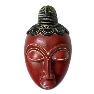 Handmade Baule Ancestor Ivoirian Wood Mask (Ghana)