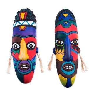 Handmade Colors Ceramic Mask, Set of 2 (Peru)