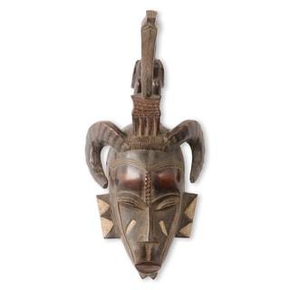 Handmade Senufo Kalao Bird African Mask (Ghana)