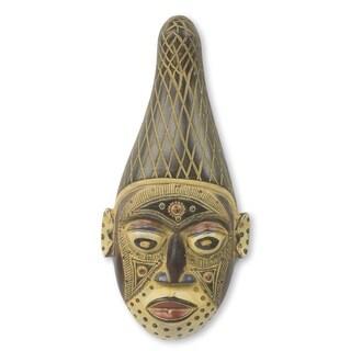 Handmade Onyine African Wood Mask (Ghana)