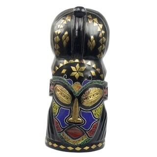 Handmade Obianuju African Wood Beaded Mask (Ghana)