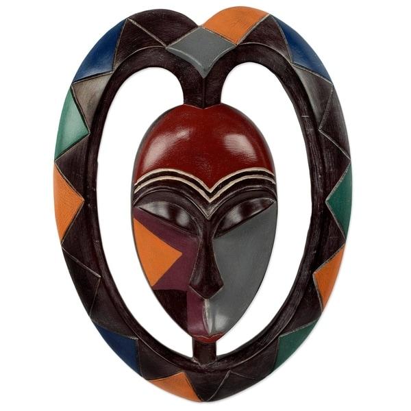 Handmade Kwele Mask Iii African Wood Mask (Ghana)