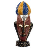 Handmade Mask Of Strength African Wood Mask (Ghana)