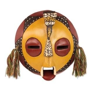 Handmade Calm One African Wood Mask (Ghana)