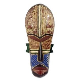 Handmade Malu African Wood Mask (Ghana)