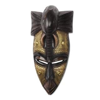 Handmade The Elephant Is My Friend African Wood Mask (Ghana)