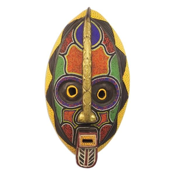 Shop Handmade Spirit Colors African Beaded Wood Mask
