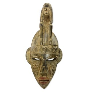 Handmade Thinking Mask African Wood Mask (Ghana)