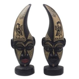 Handmade Sankofa Twins Pair African Wood Masks (Ghana)