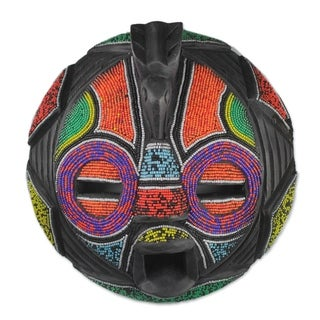 Handmade Colorful Face African Beaded Wood Mask (Ghana)