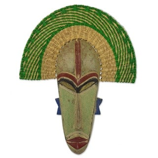 Handmade Akuwuezuika African Wood And Raffia Mask (Ghana)