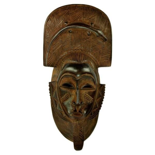 Handmade Bearded Gentleman African Wood Mask (Ghana)