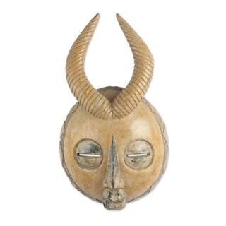 Handmade Yellow Gazelle African Wood Mask (Ghana)