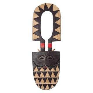 Handmade Dynamic Cheer African Wood Mask (Ghana)