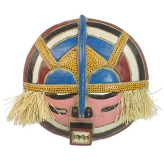 """Handmade Adenike African Wood Mask (Ghana) - 14.75"""" x 15"""""""