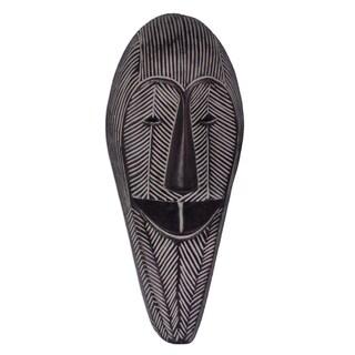 "Handmade Happy Woman African Wood Mask (Ghana) - 8.25"" x 19"""