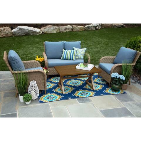 Tupelo 4-piece Deep-seating Blue Sunbrella Fabric Handmade Wicker Patio Set