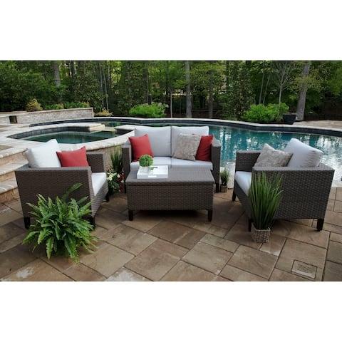Laurel 4-piece Grey Aluminum and Wicker Deep Seating Set with Sunbrella Fabric