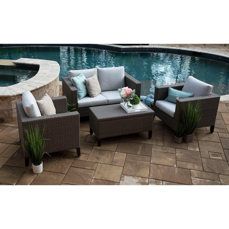 Laurel Wicker 4 Piece Deep Seating Chat Set With Sunbrella Fabric Overstock 25571708