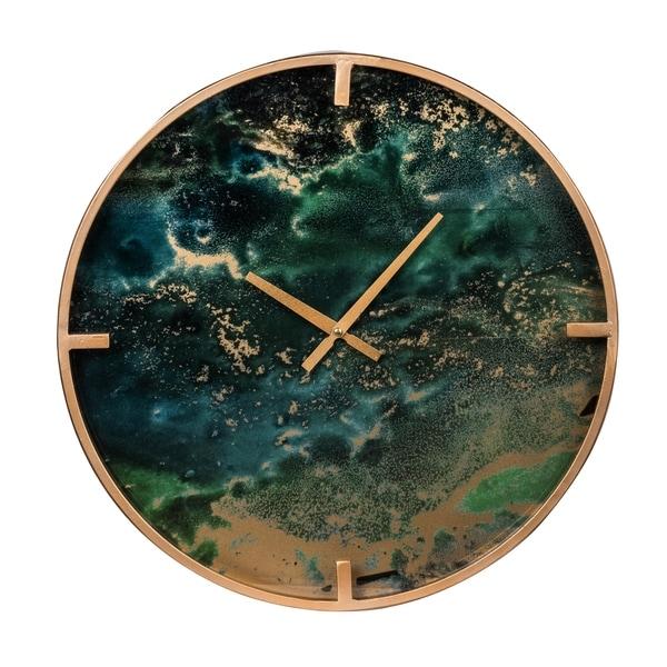 Organic Elements 20-inch Green Modern Chic Marble Effect Wall Clock