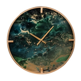 Organic Elements 20-inch Green Modern Chic Marble Effect Wall Clock