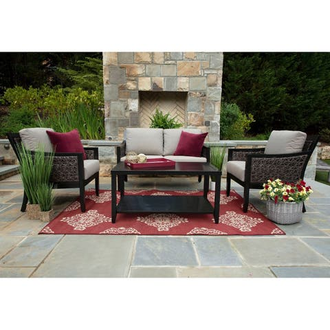 Hawthorn Grey/Mahogany Sunbrella/Aluminum/Wicker 4-piece Deep Seating Patio Set