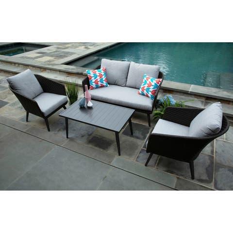 Willow 4-piece Deep Seating Grey Wicker Sunbrella Fabric Patio Set