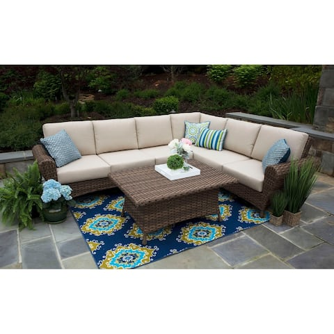 Aspen Beige Sunbrella Wicker Aluminum 5 Piece Sectional Patio Set