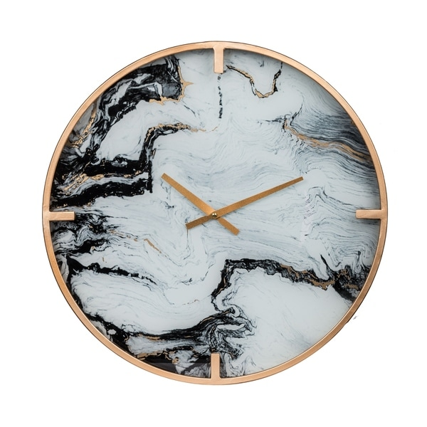 Modern Chic 20-inch White Marble Wall Clock