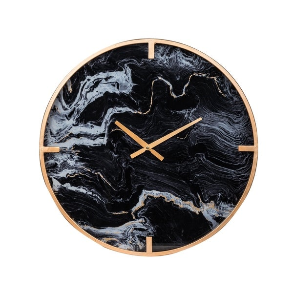 Modern Chic 20-inch Black and Brass Marble Effect Wall Clock