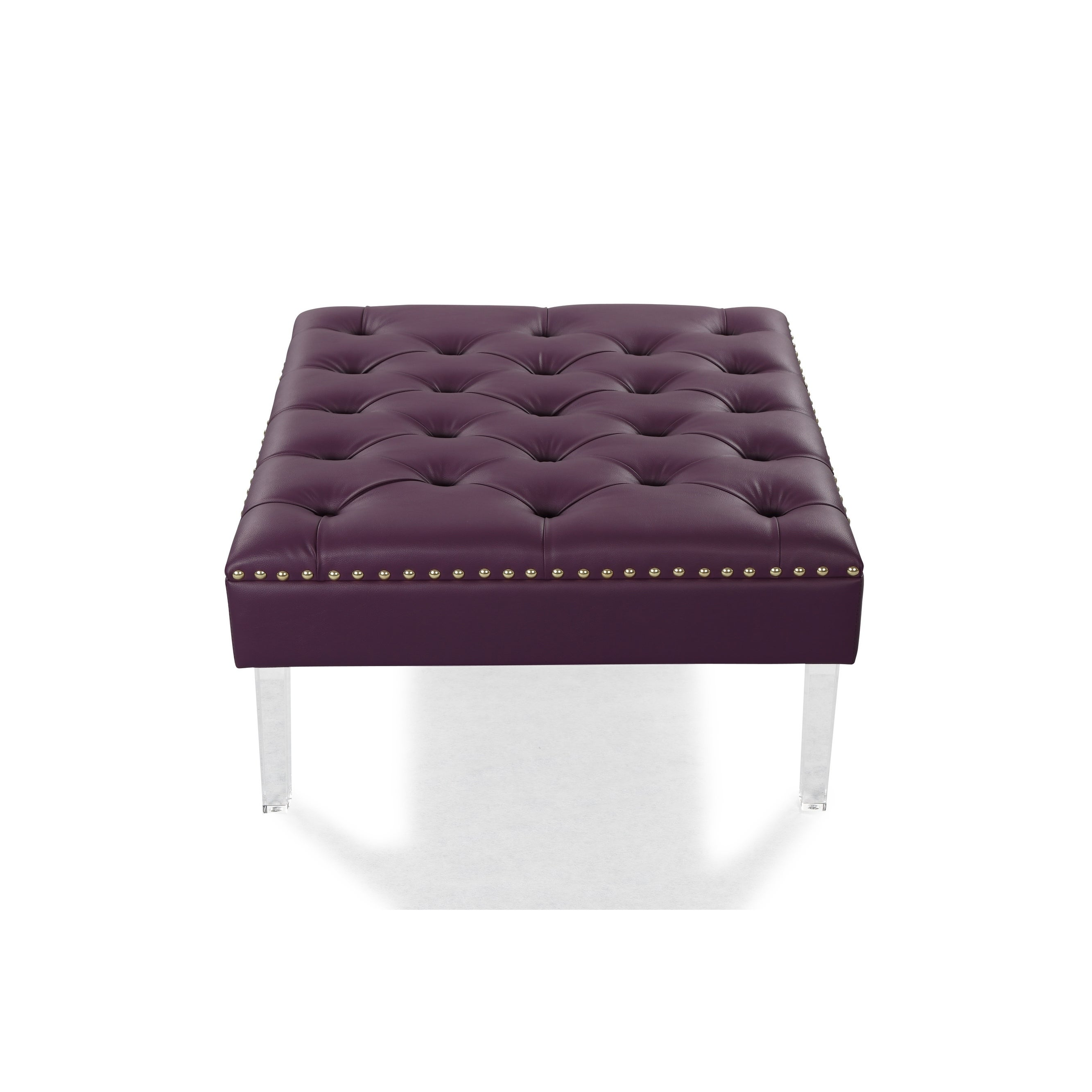 Admirable Chic Home Remi Pu Leather Button Tufted Square Ottoman Dailytribune Chair Design For Home Dailytribuneorg