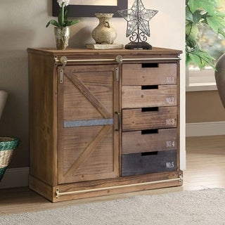 OS Home Model 475134 Distressed Multicolor Wood 5-drawer 2-shelf Farmhouse Antique Barn Door Pantry