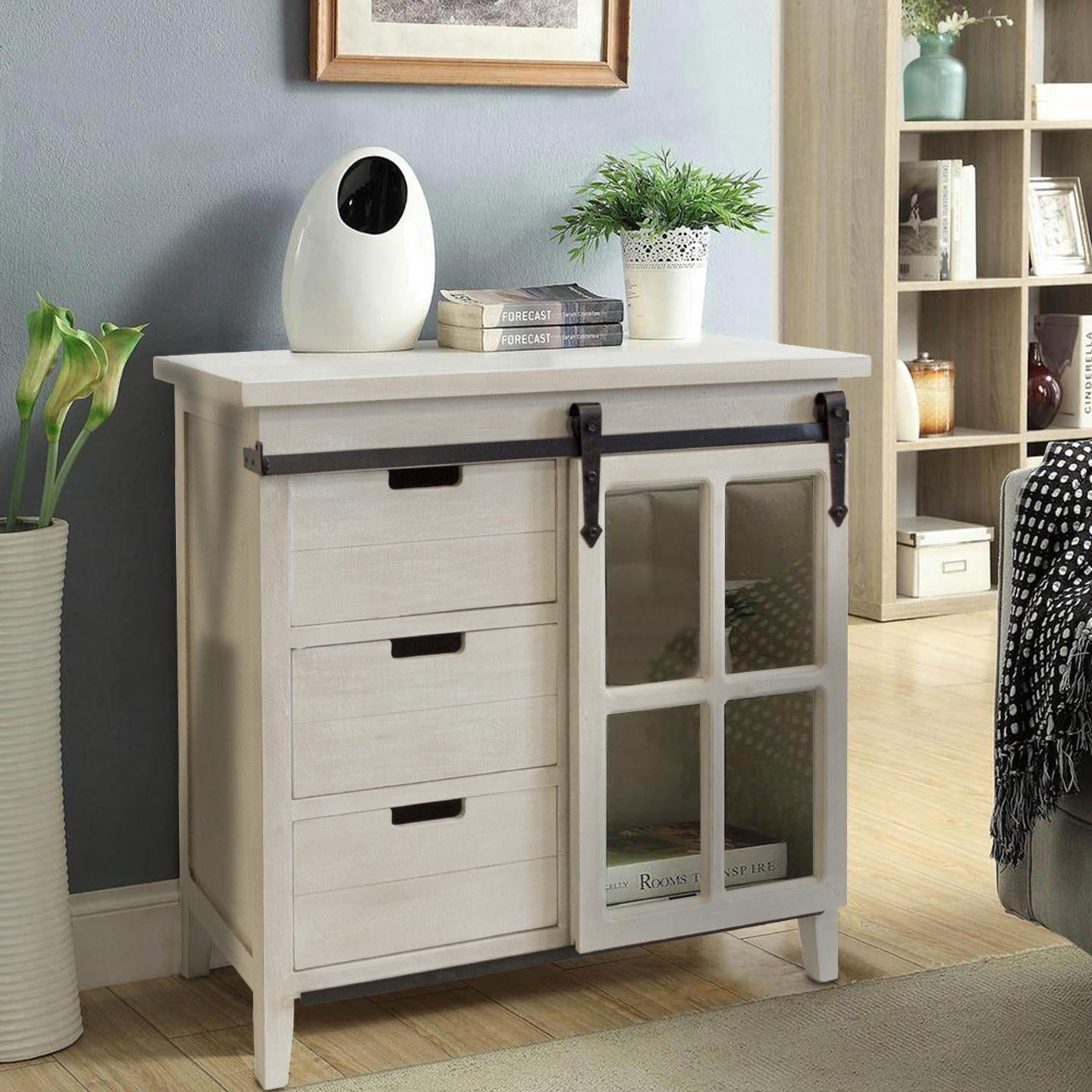 Os Home Farmhouse Weathered White Finish Wood Barn Door Style Sliding Glass Door Storage Cabinet With Three Drawers Overstock 25572123