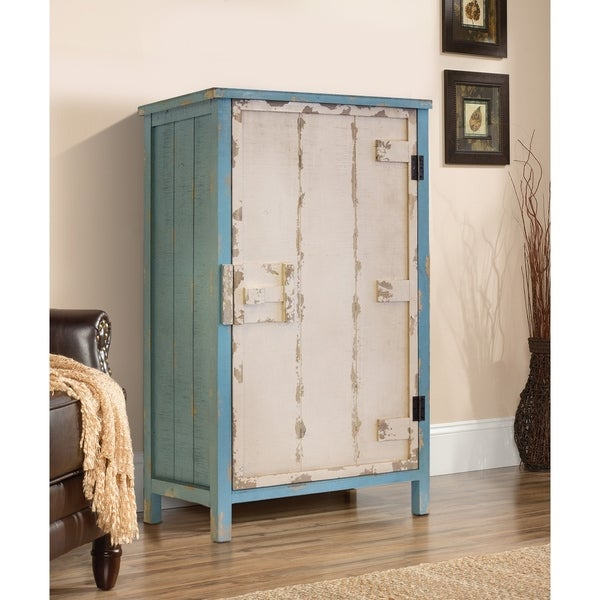 OS Home Rustic Weathered Antique White/Turquoise Blue Wood 1-door Pantry with Three Shelves