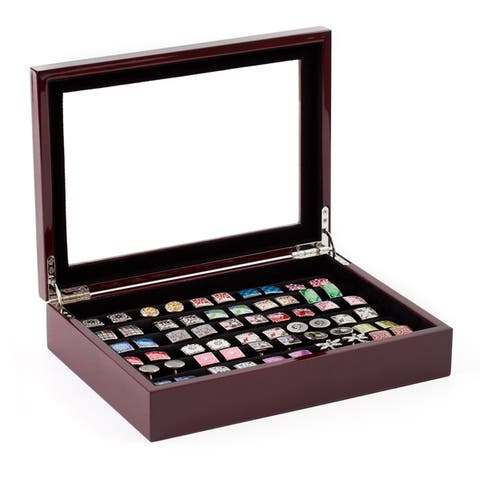 Mahogany Cufflinks and Rings Store Box Case(36 pair capacity)