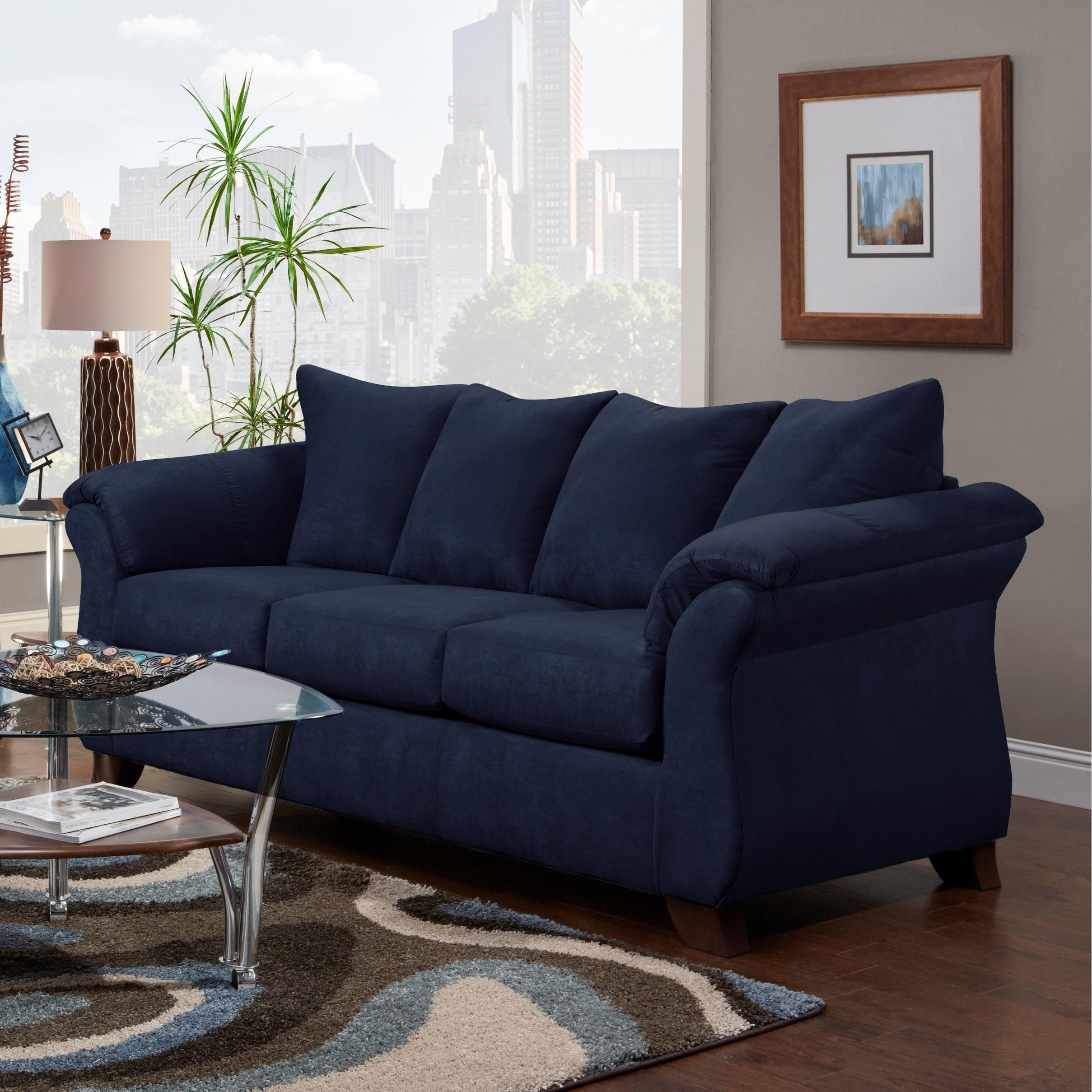 Aruca Navy Blue Microfiber Pillow-back Sofa