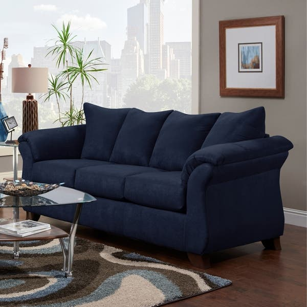 Cool Shop Aruca Navy Blue Microfiber Pillow Back Sofa Free Gmtry Best Dining Table And Chair Ideas Images Gmtryco