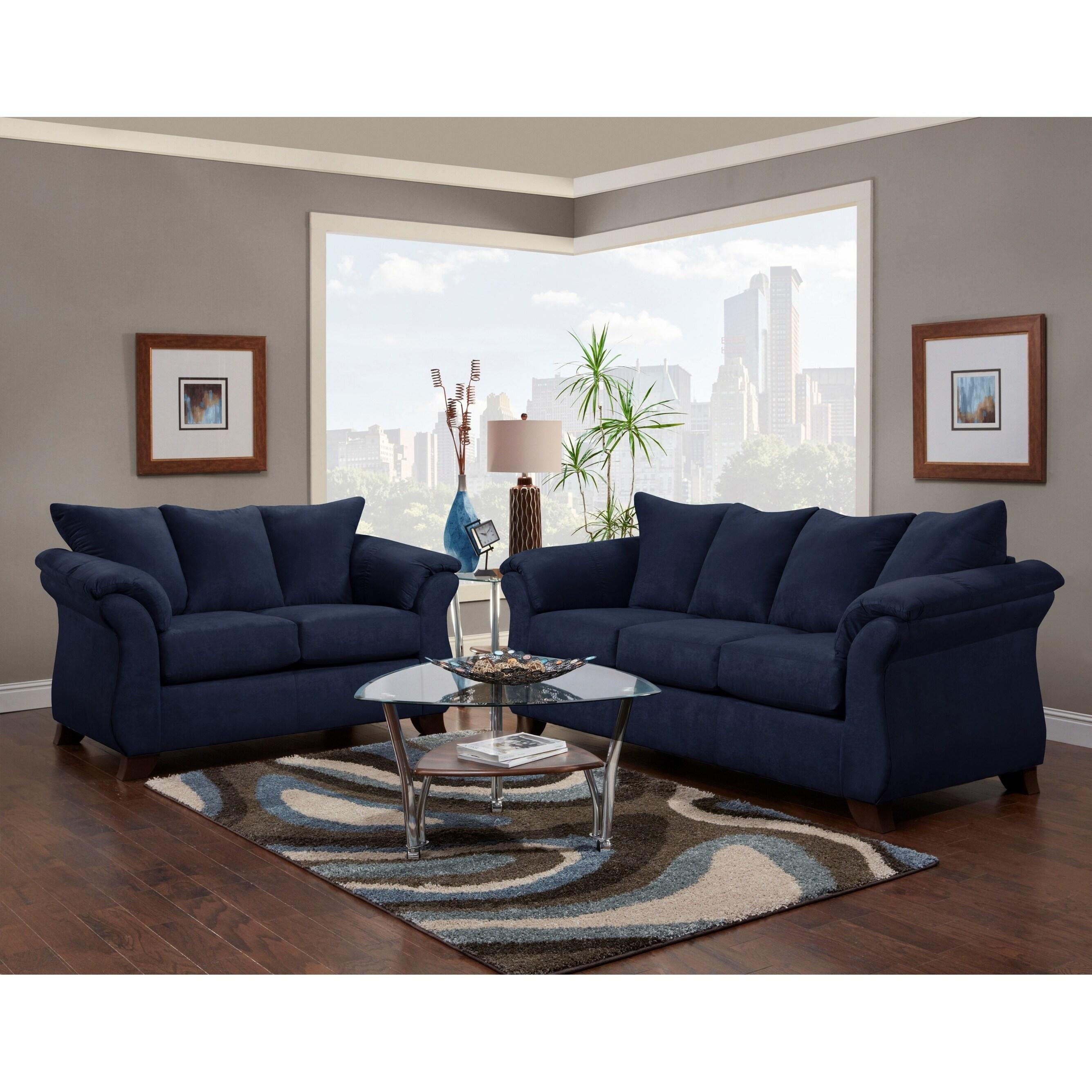 Aruca Navy Blue Microfiber Pillow-back Sofa - On Sale - Overstock - 25572334