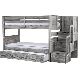 Bedz King Stairway Rustic Grey Twin-over-Twin Bunk Bed w/ 3 Drawers in Steps and Twin Trundle