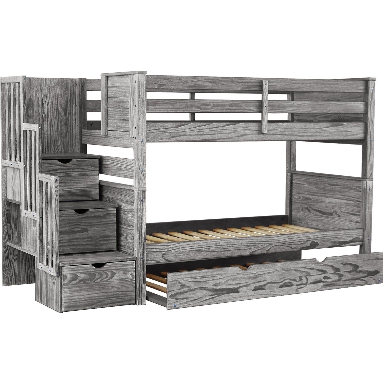 Picture of: Bedz King Stairway Bunk Beds Twin Over Twin With 3 Drawers In The Steps And A Twin Trundle Rustic Gray Overstock 25572341