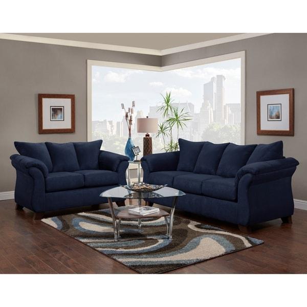Aruca Navy Blue Microfiber Pillow Back Sofa and Loveseat Set