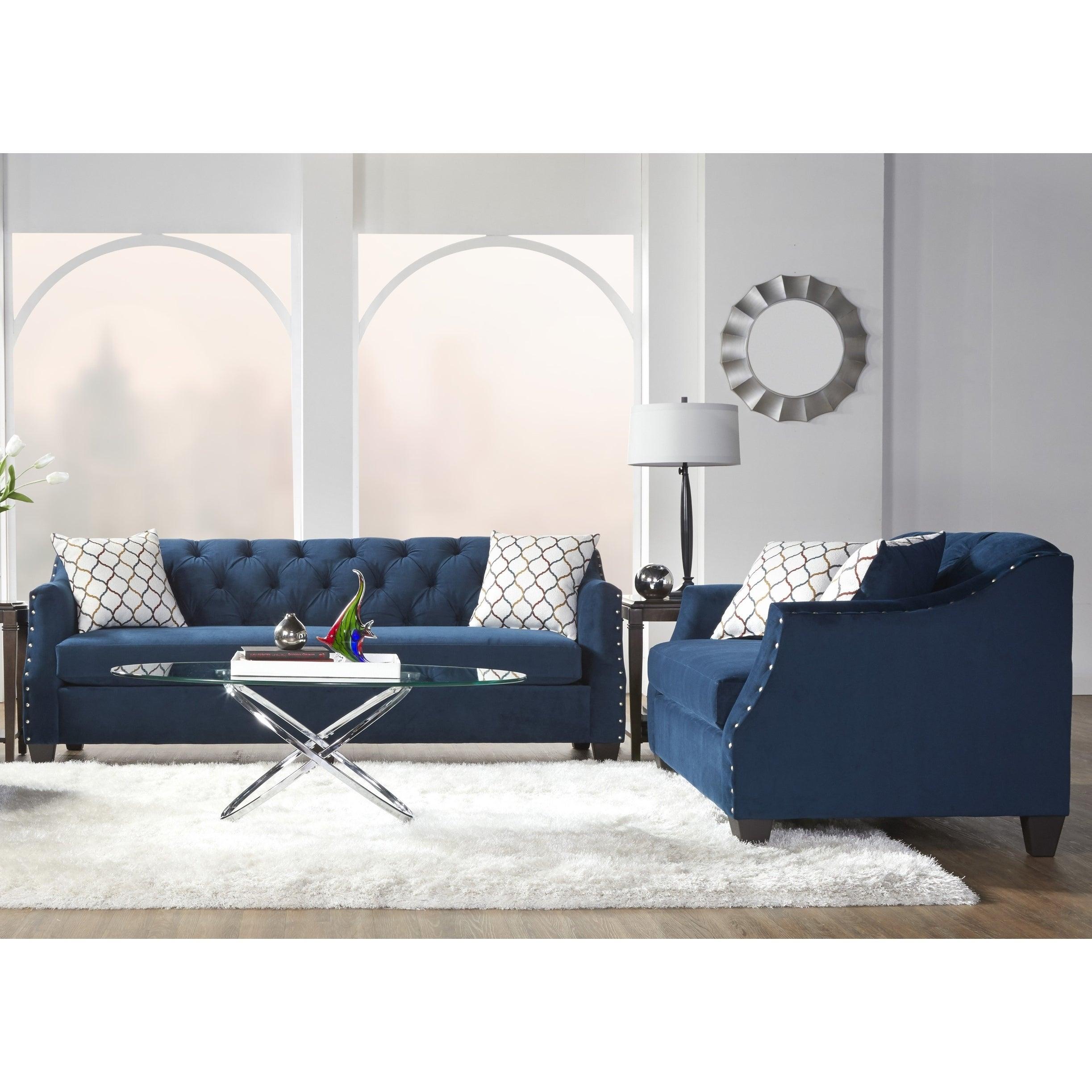 Moselle Transitional Modern Velvet Tufted Nainhead Trim Sofa and Loveseat  Set, Blue