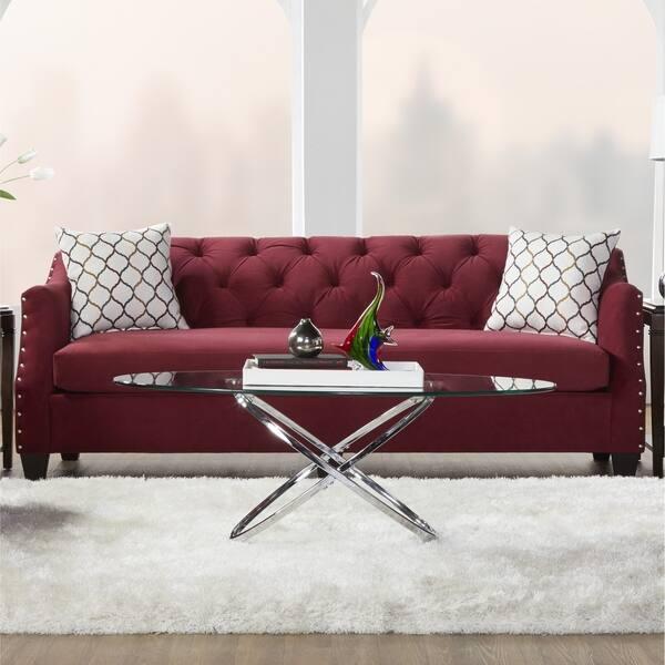 Shop Gracewood Hollow Vyas Velvet Tufted Sofa with Nailhead ...