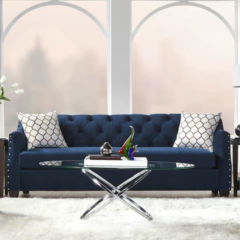 Gracewood Hollow Vyas Velvet Tufted Sofa with Nailhead Trim