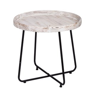 The Gray Barn Bonfire Glade Rustic Whitewash and Black Side Table