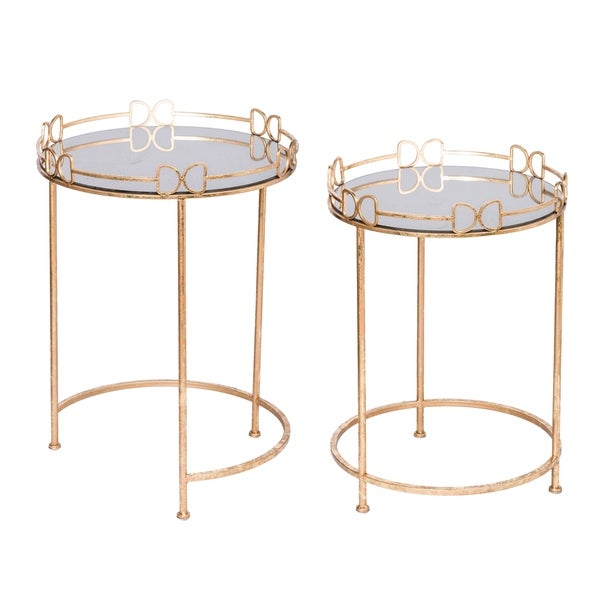 Classic Vintage Gold Mirror Top Side Tables (Set of 2)