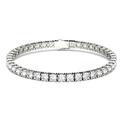 Moissanite by Charles & Colvard 14k White Gold 9.89 DEW Round Tennis Bracelet