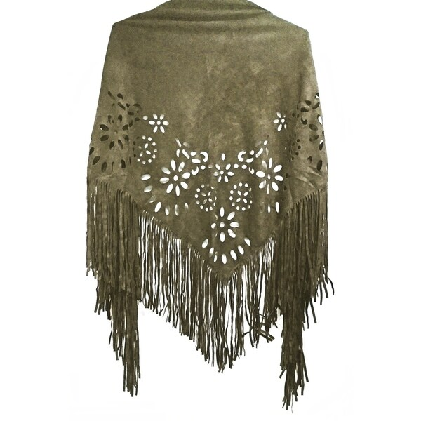 bac352a62 Laser Cut Faux Suede Cape Shawl with Fringe Details - Olive Scarf - One size