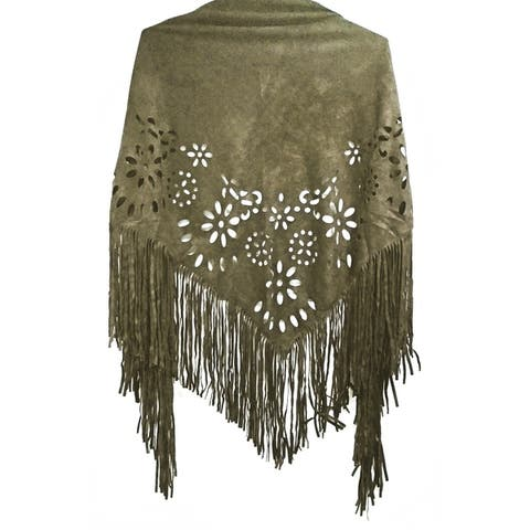 Laser Cut Faux Suede Cape Shawl with Fringe Details - Olive Scarf - One size