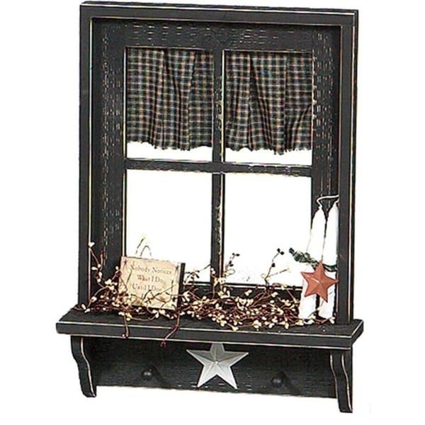 Primitive Decorative Window w/Shelf and Curtain